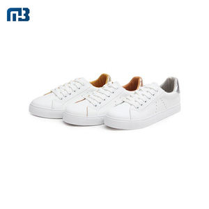 Factory Fashion Custom Comfortable White Lace-Up Type Women Flat Heel Casual Shoes