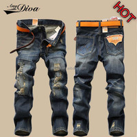 2016 New style jeans pent men vintage brand ripped jeans trousers pure cotton skinny denim biker jeans for men