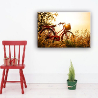 Bicycle and sunset canvas wall art painting designs for living room