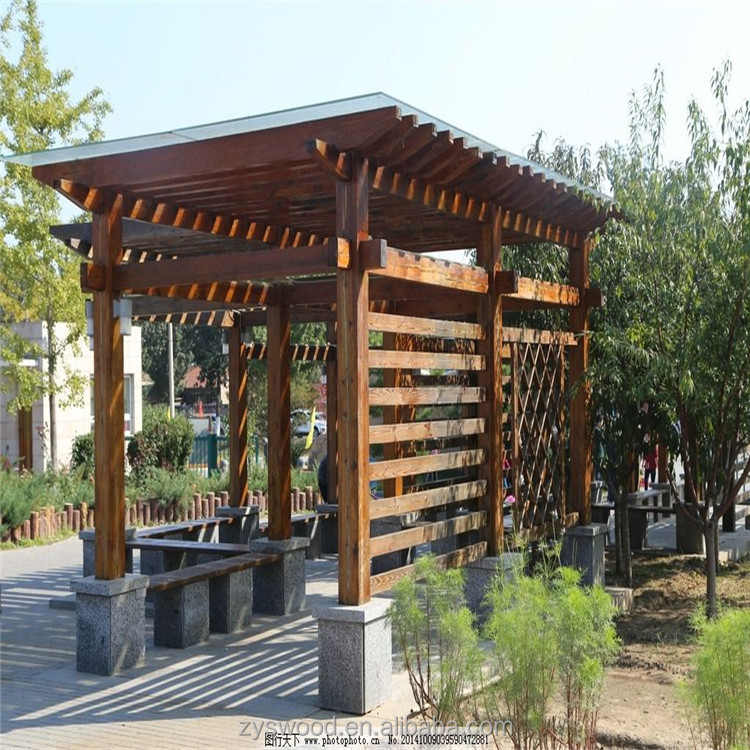 outdoor solid chinese style wood pergola