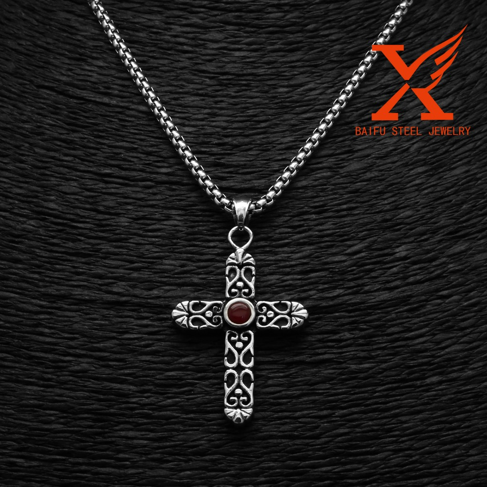 Stainless Steel Cut Black / Red Onyx Gem Stone Engraved Cross Pendant
