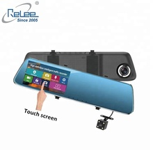 Double lens 1080p mirror camera 4.3inch touch screen car dvr