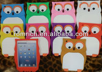 new arrival 3D cartoon cute owl soft silicone case for Apple ipad mini skin cover 10 colors hot selling popular protector