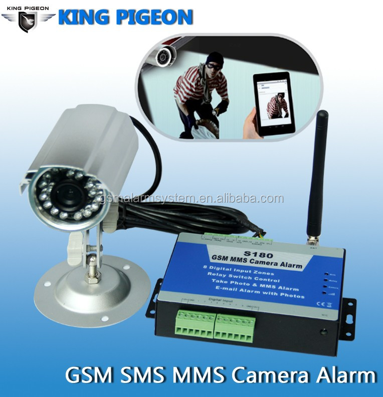 Auto dial home/business Usage GSM home security alarm work with camera gsm alarm system,send photo by MMS or alert SMS to users