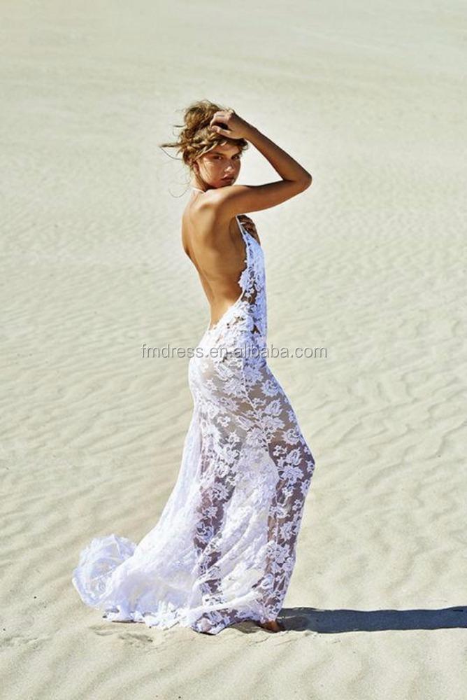 Sheath Wedding Gown Pattern : Backless halter neck sheath lace beach casual wedding dresses patterns