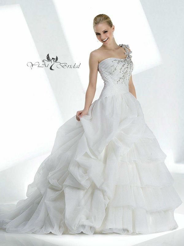 WK0271 Beaded One Shoulder Plus Size Wedding Gowns