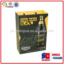 spot UV Embossing coloured recycled printed wine 2 bottle paper bag