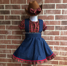 Cowgirl Summer Outfit Denim Fabric Skirts+Red Plaid Shirt
