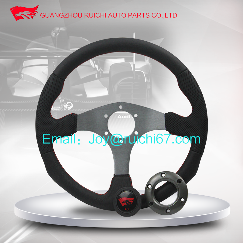 Car interior accessories 350mm leather off road steering wheel with flat dished