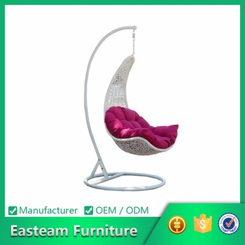 Garden furniture outdoor balcony white rattan swing hanging egg chair with stand