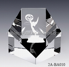 Crystal Craft Pentagon Paperweight As Wedding Gift And Souvenir.