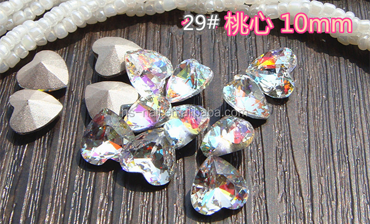 3D iridescence sharp bottom crystal laser multi stone for nail art decoration