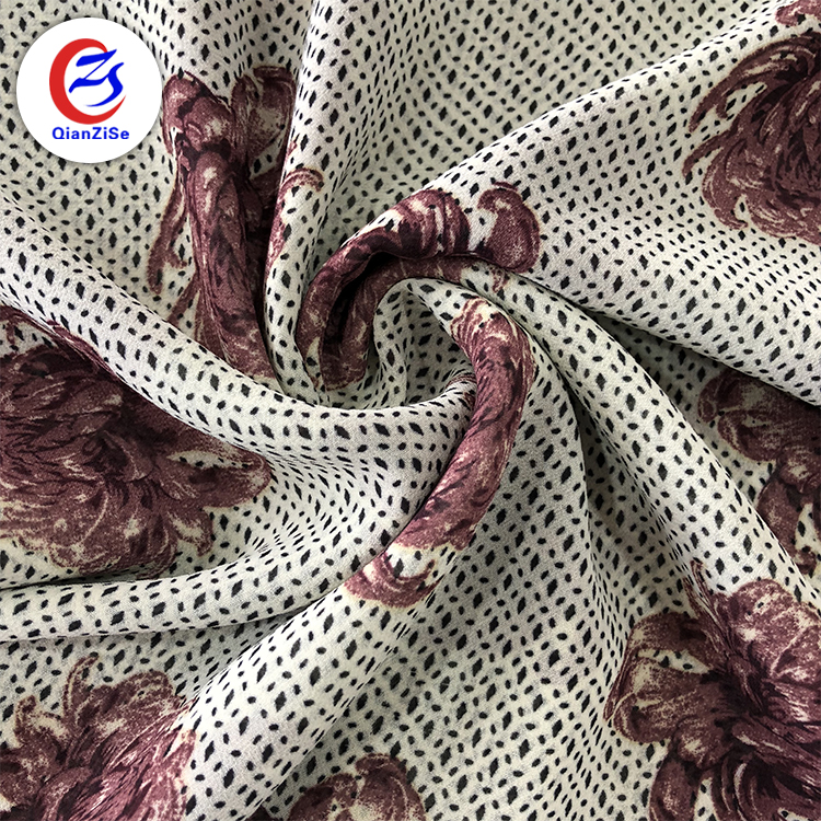 2018 new beautiful design floral plain scarf polyester chiffon fabric