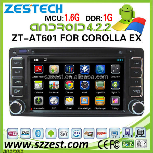 ZESTECH hot sell android central multimedia for Toyota corolla ex navigation system with 3g wifi