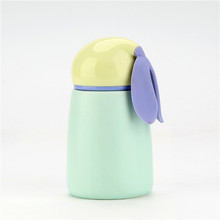 Kid decorative <strong>flat</strong> - bottom matte ceramic coffee thermos bottle with handle
