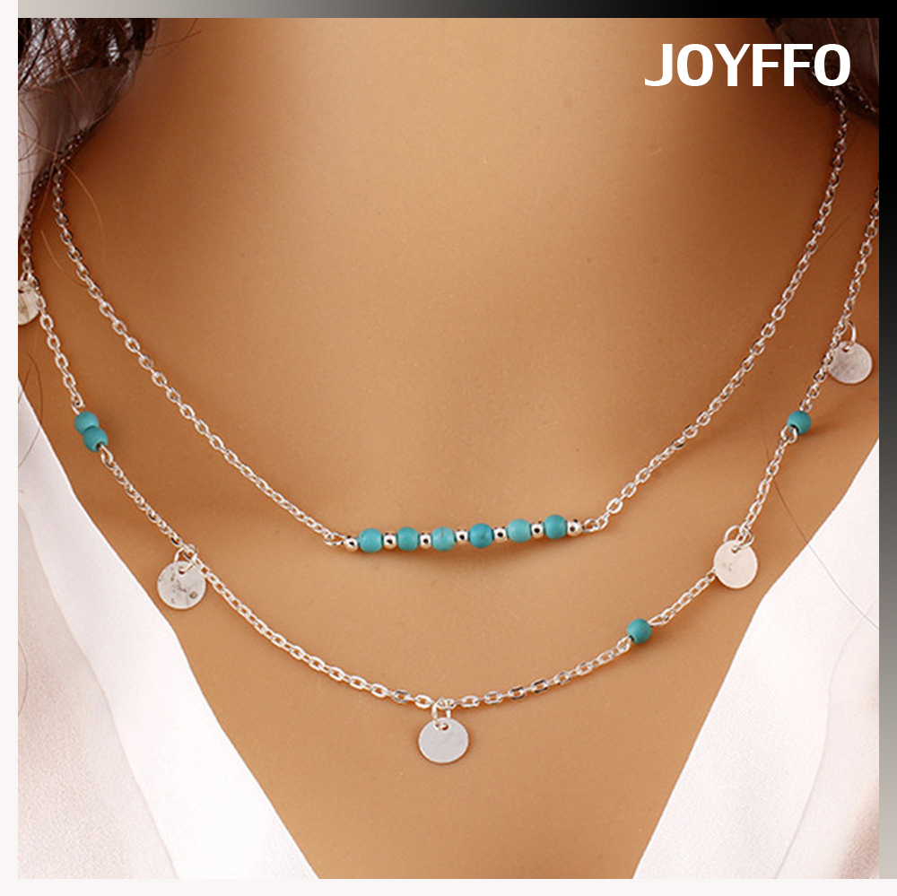 Yiwu factory multi layers summer necklace,sequins pendant necklace