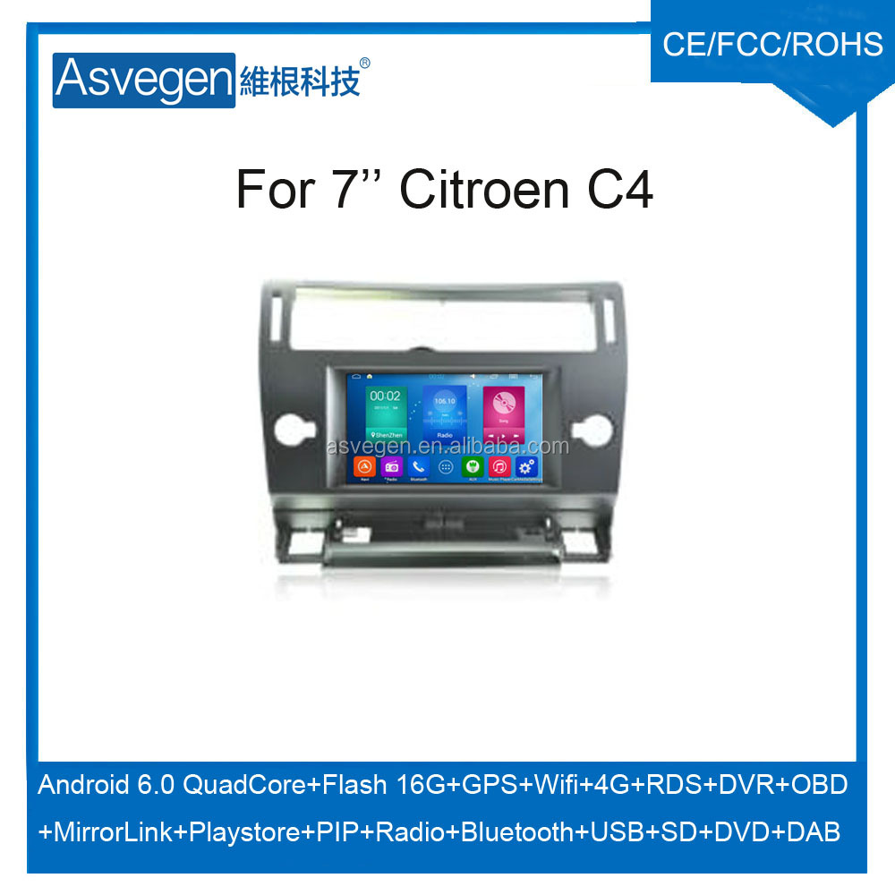Wholesale Android Car DVD Player for 7'' Citroen C4 Navigation Car DVD GPS Support Playstore,4G,WIFI