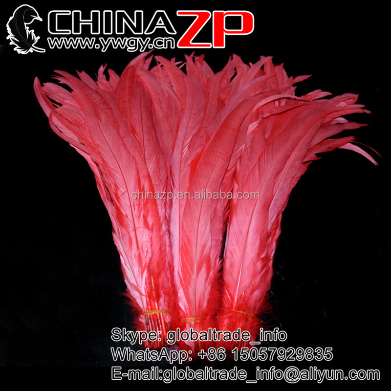 Factory Wholesale from CHINAZP Cheap Dyed Hot Red Long Rooster Tail Feathers