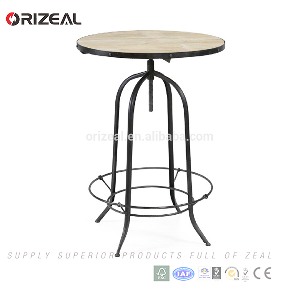 Coffee bar wood round top metal frame bar table, industrial style bar furniture