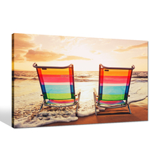 Summer Beach Scenery Canvas Art/Romance Sunset Landscape Wall Picture/Seascape Picture Digital Print