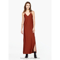 Latest V-Neck Side Slit Casual Dress Thin Strap Vetement Femme HSD9155