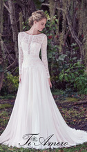 1A995 Delicate Round Neck Long Sleeve Lace See Through Long Trail Wedding Dress
