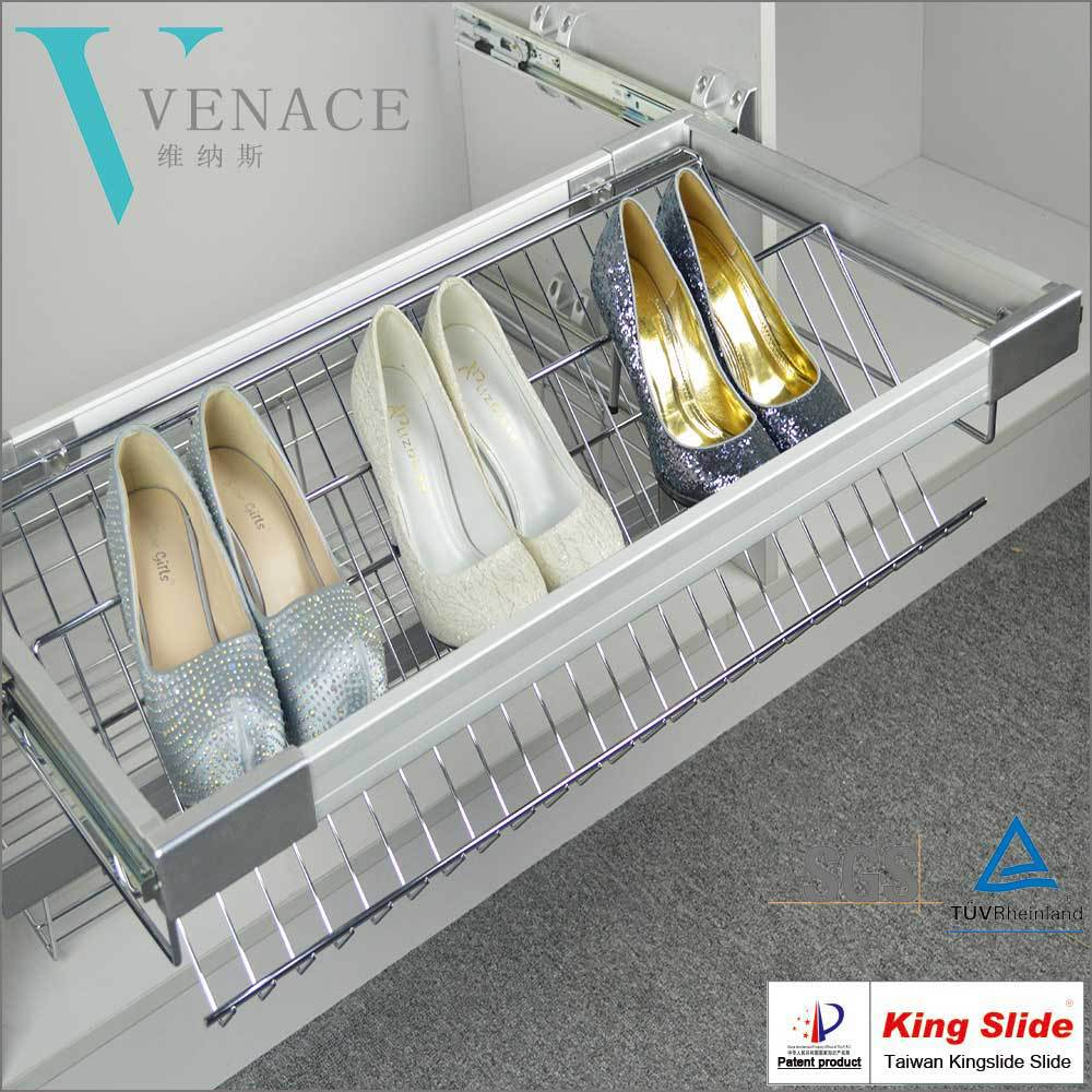Wardrobe Internal Space saving Soft Close Pull-out Shoes Rack with Kingslide slide
