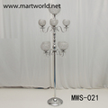 2017New design tall 9 arms crystal candelabra stand for wedding decoration (MWS-021)