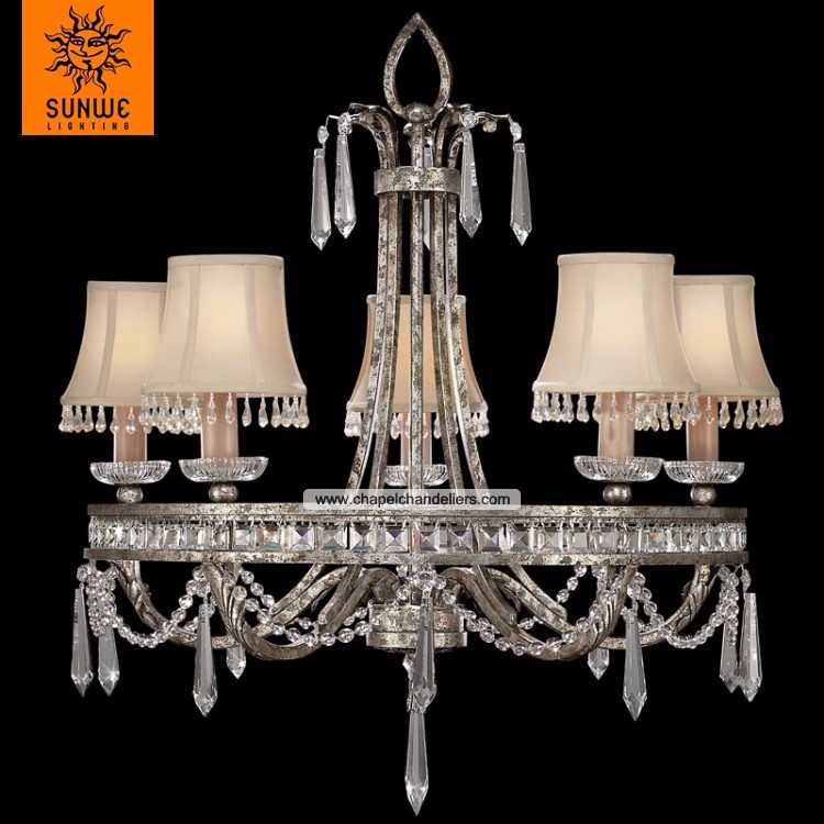 lustres de cristal Traditional round 5 lights Warm antiqued silver finished Metal Fabric crystal chandelier