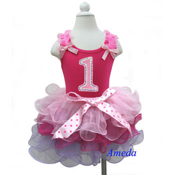 Baby Girls Birthday Outfits - Pink Sleeveless Shirt Tank Top with Number 1 & Lavender Pink Mini Tutu Skirt 1-7 Years