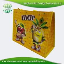Promotional recycle stock food pp woven tote shopping bag