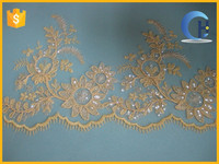 Gold bridal Embroidery cord lace trim wholesale(CH15031)