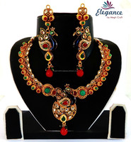 Wholesale ethnic peacock jewelry - Indian one gram gold plated kundan necklace set - Bollywood peacock style jewellery set