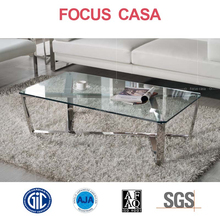 s shape coffee table with glass