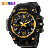 skmei 1155 sport fashion watches 2016 gold color men cool style hand clock waterproof