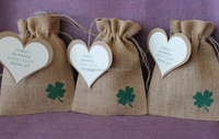 Rustic shamrock burlap wedding favors gifts bag for jewelry with tag