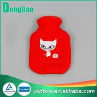 red quality hot water bag with one white cat knitted cover