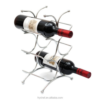 Wine Rack Storage Organization Freestanding Holder For Kitchen Bar Countertop Cabinet 6 Bottles