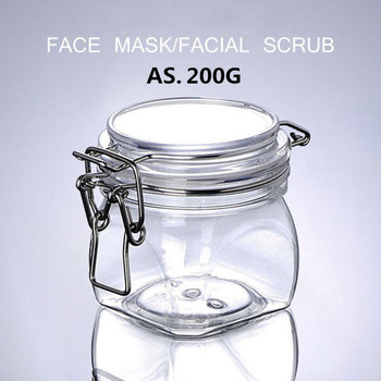 Plastic Cosmetics Cream Empty Jar 200Ml With Clear Cover Cap Head