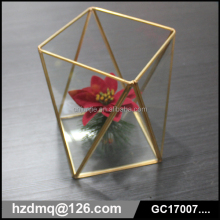 indoor romantic wedding design succulent plant hanging glass geometric terrarium in gold color