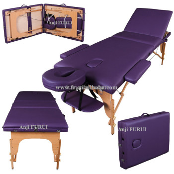 Portable 3-Section wooden massage table chair bed foldable with carry bag - high density foam bed with study table