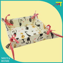 Foldable cotton bread holder box with funny cat printed