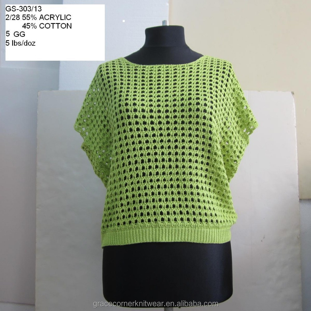 womens ladies sleeveless tops 55% acrylic 45% cotton knitted pullover sweater