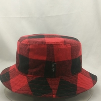 classical two color checked pattern bucket hat made in china