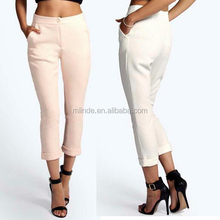 Ladies Fashion Trousers Design Plain Textured Fabric Buttoned Front Cropped Trousers For New Fashion Pencil Trousers Elegant