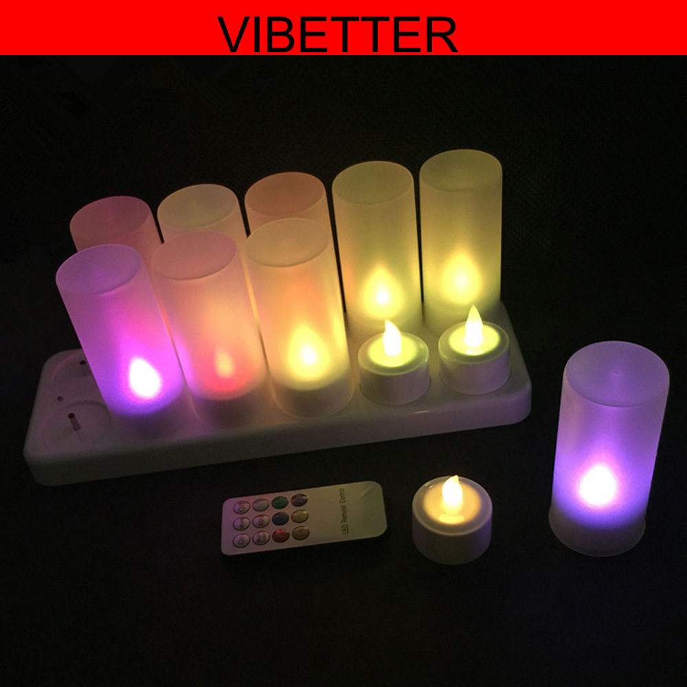 Hot sell 12key remote control color changing led candle rechargeable led flameless fricker tealight candle