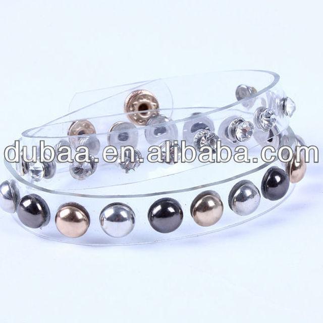 Silicone Bracelets,2015 New Fashion Transparent PVC Plastic Bracelet Rivet Crystals Bangle