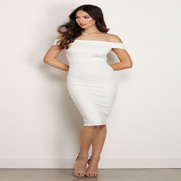 Latest dress designs office woman wear off shoulder white midi dress bodycon slim dresses for women