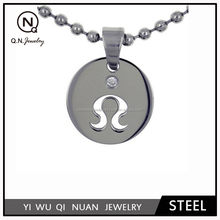 Stainless steel laser cut polished zodiac pendant