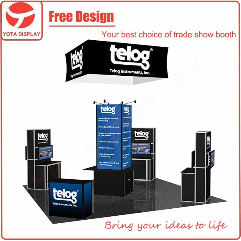 Yota offer Telog,6x6m island exhibition stand with square hanging sign